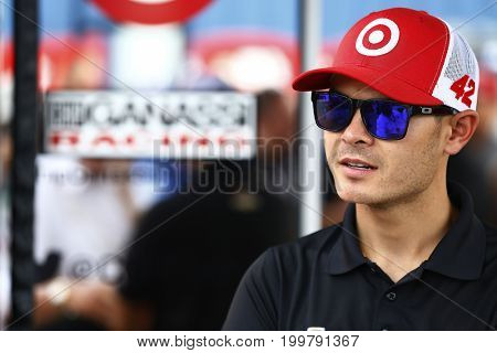 August 13, 2017 - Brooklyn, Michigan, USA: Kyle Larson (42) hangs out in the garage area before the start of the Pure Michigan 400 at Michigan International Speedway in Brooklyn, Michigan.