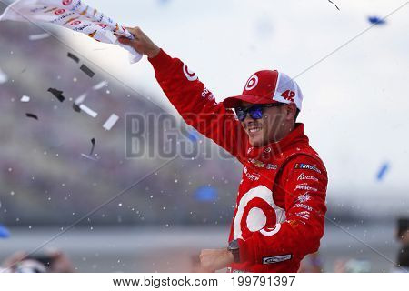 August 13, 2017 - Brooklyn, Michigan, USA: Kyle Larson (42) celebrates after winning the Pure Michigan 400 at Michigan International Speedway in Brooklyn, Michigan.
