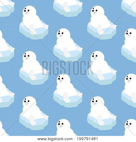 Seal pattern on the blue background. Vector illustration