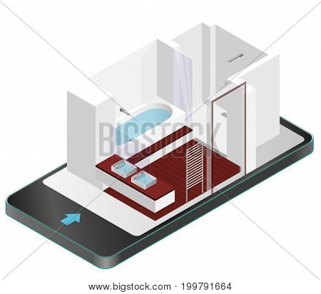 Modern bathroom with wooden floor in mobile phone. Isometric shower enclosure with sliding glass doors in communication technologies. Bathroom sinks with mirror. Vector sanitary washroom equipment.