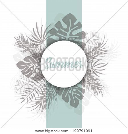 Tropical design with dark palm leaves and plants on white background with text Summer vector illustration