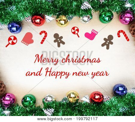 Christmas background with decorations on wooden board with text Merry Christmas and Happy new year.