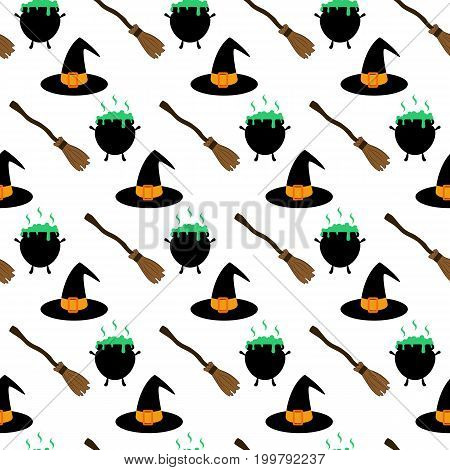 Witch hat and broom pattern on the white background. Vector illustration