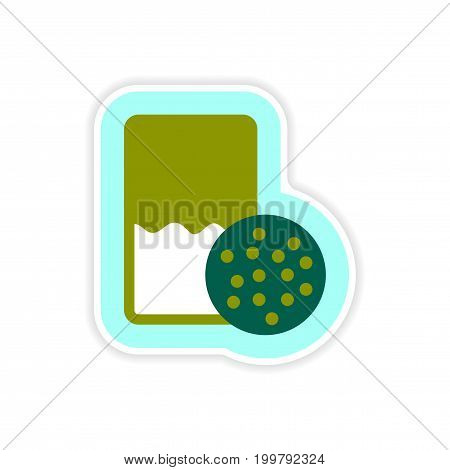 paper sticker on white background glass of milk biscuits