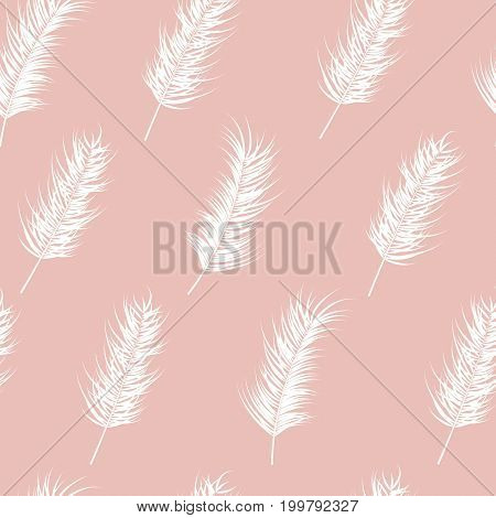Seamless pattern with tropical leaves on pink background vector illustration