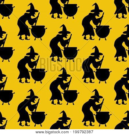 Witch pattern on the yellow background. Vector illustration
