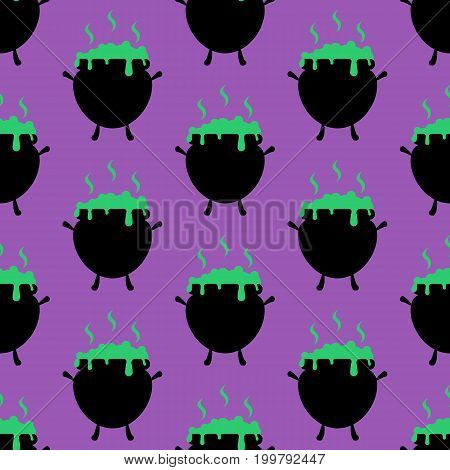 Witch Cauldron pattern on the purple background. Vector illustration
