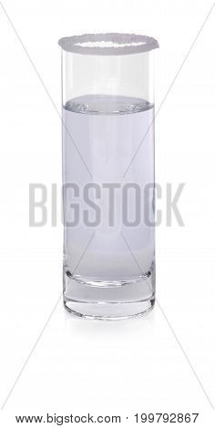 Close-up of a tall transparent glass full of clear, mineral, fresh water isolated over the white background. A crystal, elegant glass filled with pure water. Alcoholic cocktail in shot glass.