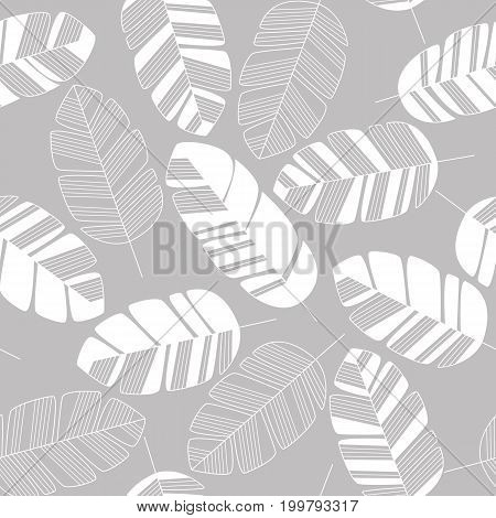 Seamless pattern with white leaves on gray background vector illustration