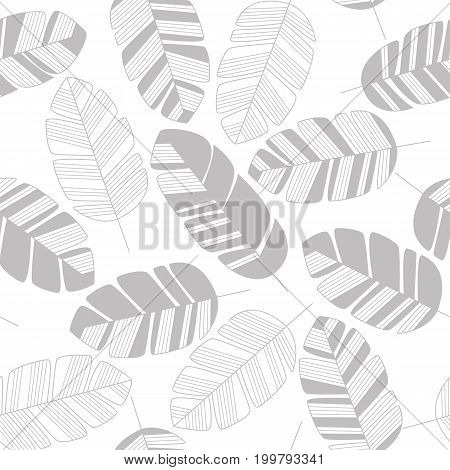 Seamless pattern with gray leaves on white background vector illustration
