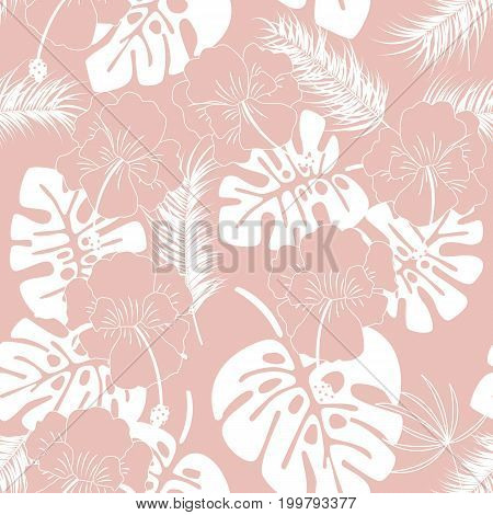 Seamless tropical pattern with white monstera leaves and flowers on pink background vector illustration