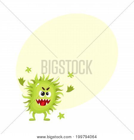 Ugly green virus, germ, bacteria character with human face, cartoon vector illustration with space for text. Scary bacteria, virus, germ monster with human face and sharp teeth