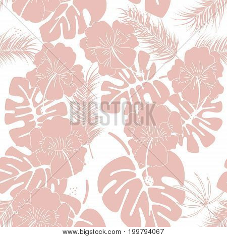 Seamless tropical pattern with pink monstera leaves and flowers on white background vector illustration