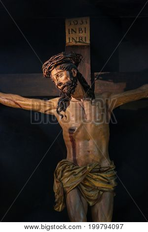 Statue Of Jesus On The Cross In The Cathedral Of Trento