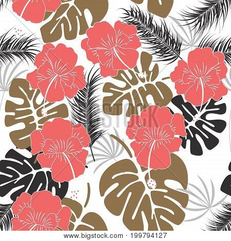 Seamless tropical pattern with monstera leaves and flowers on white background vector illustration