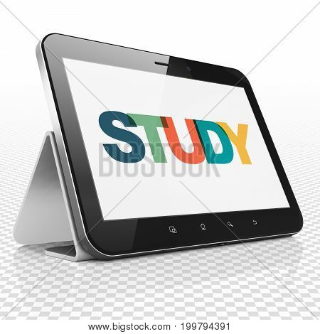 Studying concept: Tablet Computer with Painted multicolor text Study on display, 3D rendering