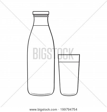 Side view drawing of bottle and glass with liquid, sketch vector illustration isolated on white background. Hand drawn bottle and glass full of liquid