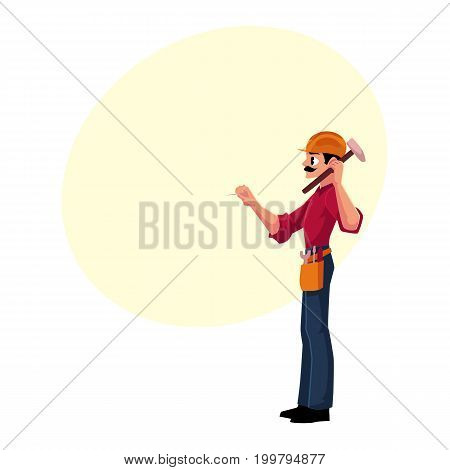 Construction worker, builder in hardhat driving nail with hammer, cartoon vector illustration with space for text. Full length, side view portrait of builder, construction worker with hammer