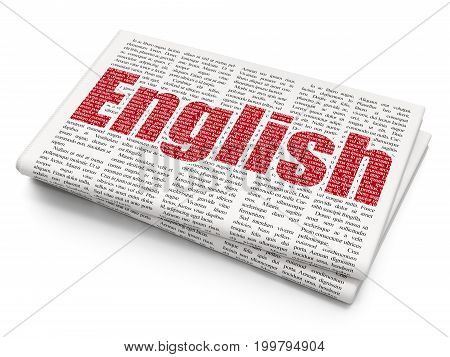 Education concept: Pixelated red text English on Newspaper background, 3D rendering