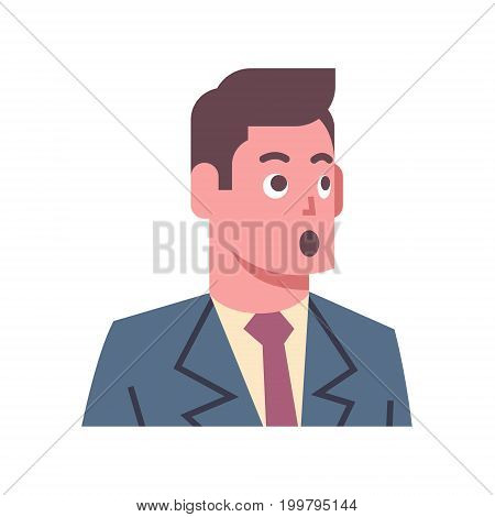 Male Shocked Emotion Icon Isolated Avatar Man Facial Expression Concept Face Vector Illustration