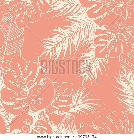 Summer seamless tropical pattern with monstera palm leaves and plants on pink background vector illustration
