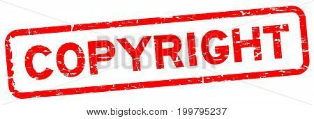 Grunge red copyright square rubber seal stamp on white background