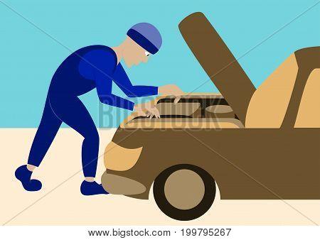 Mechanic repairs car motor human wheel, transportation
