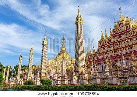 Beautiful Buddhist Pagoda, Thanboddhay Phaya in Monywa, Myanmar