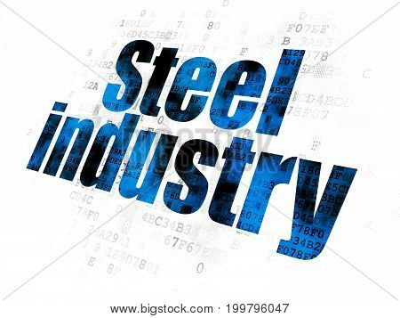 Industry concept: Pixelated blue text Steel Industry on Digital background