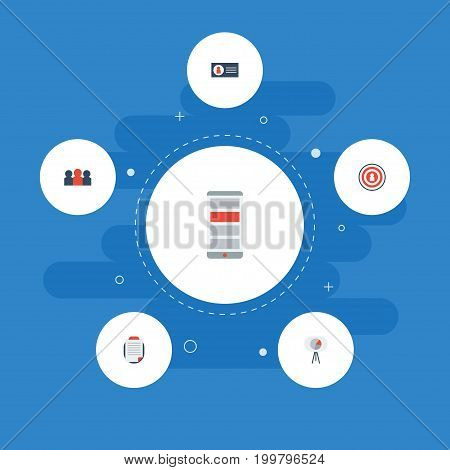 Flat Icons Application, Id, Customer Summary And Other Vector Elements
