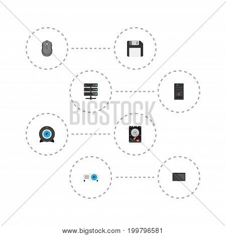 Flat Icons System Unit, Diskette, Computer Mouse And Other Vector Elements