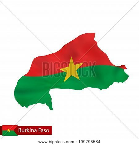 Burkina Faso Map With Waving Flag Of Country.