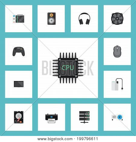 Flat Icons Storage Device, Computer Mouse, Slot Machine And Other Vector Elements