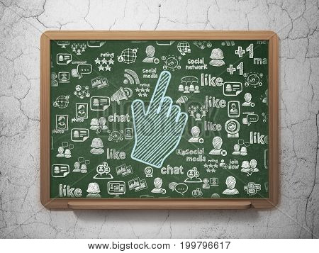 Social network concept: Chalk Blue Mouse Cursor icon on School board background with  Hand Drawn Social Network Icons, 3D Rendering