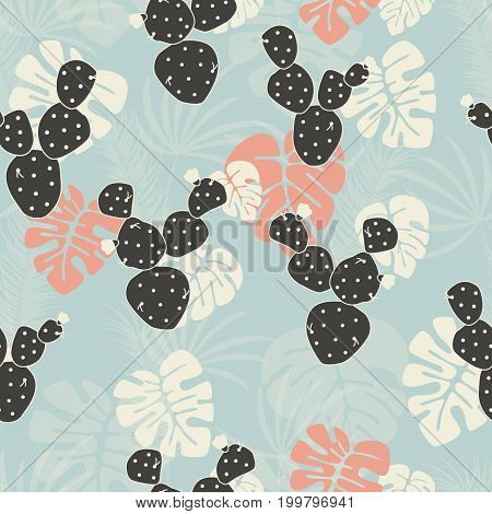 Seamless tropical pattern with monstera palm leaves and cactus on pink background vector illustration