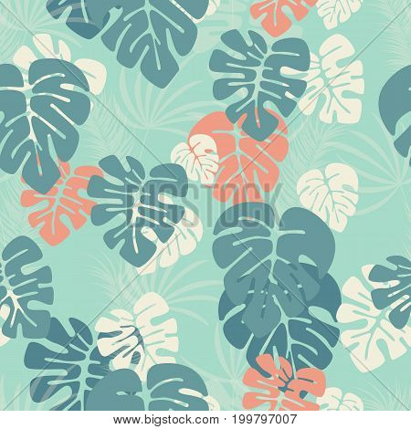 Seamless pattern with monstera palm leaves and plants on blue background vector illustration