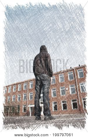 Misfit young man standing in front of a building. Charcoal illustration