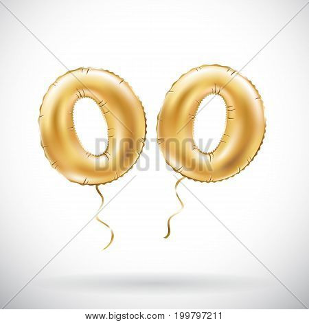Vector Golden Number 00 Two Zeros Metallic Balloon. Party Decoration Golden Balloons. Anniversary Si
