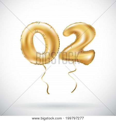 Vector Golden Number 02 Zero Two Metallic Balloon. Party Decoration Golden Balloons. Anniversary Sig