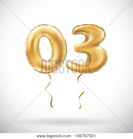 Vector Golden Number 03 Zero Three Metallic Balloon. Party Decoration Golden Balloons. Anniversary S
