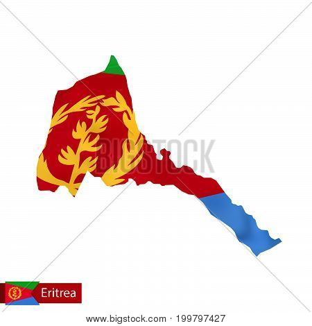 Eritrea Map With Waving Flag Of Country.