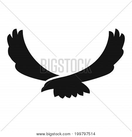 Eagle flying black silhouette icon, vector illustration isolated on white background