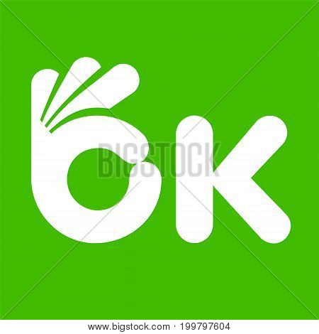 Ok symbol, letter like human hand gesture okay icon, vector illustration isolated on green background