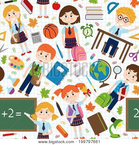 seamless pattern with pupils and school supplies - vector illustration, eps