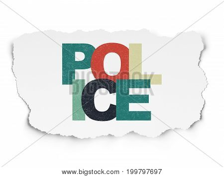Law concept: Painted multicolor text Police on Torn Paper background
