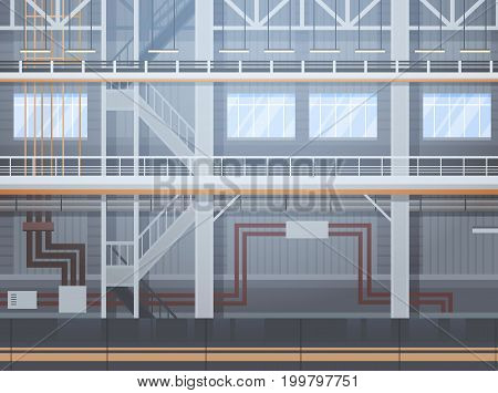 Empty Factory Conveyor Automatic Assembly Line Machinery Automation Industry Concept Flat Vector Illustration