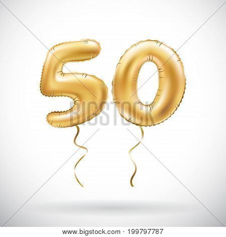 Vector Golden Number 50 Fifty Metallic Balloon. Party Decoration Golden Balloons. Anniversary Sign F