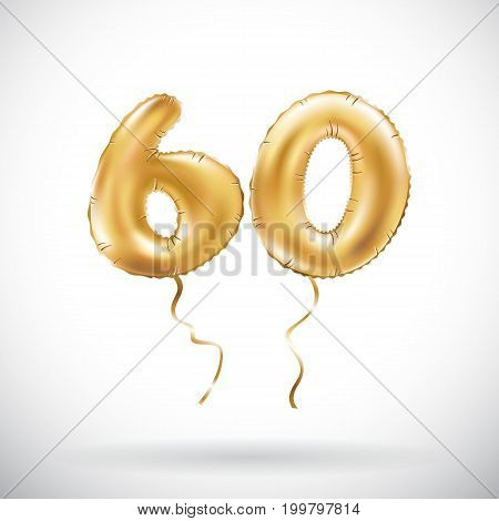 Vector Golden Number 60 Sixty Metallic Balloon. Party Decoration Golden Balloons. Anniversary Sign F