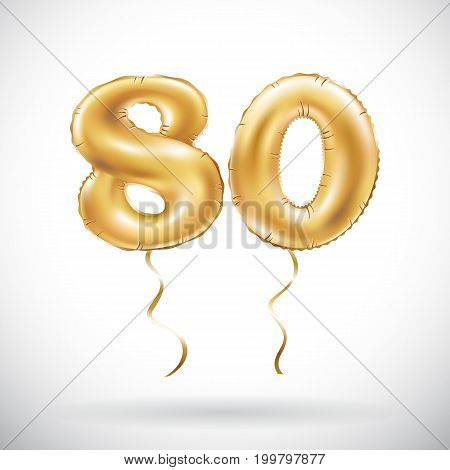 Vector Golden Number 80 Eighty Balloon. Party Decoration Golden Balloons. Anniversary Sign For Happy