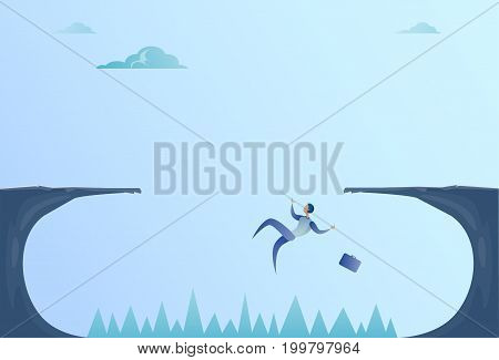 Business Man Falling In Cliff Gap Problem Finance Bankruptcy Concept Flat Vector Illustration